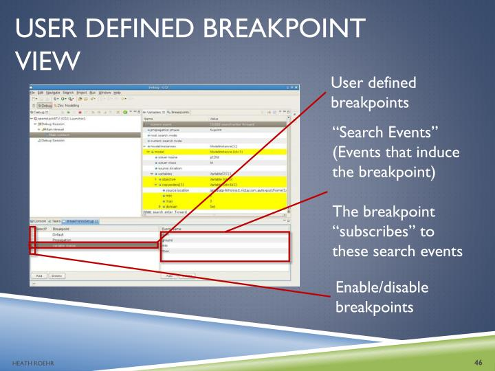 USER DEFINED BREAKPOINT VIEW
