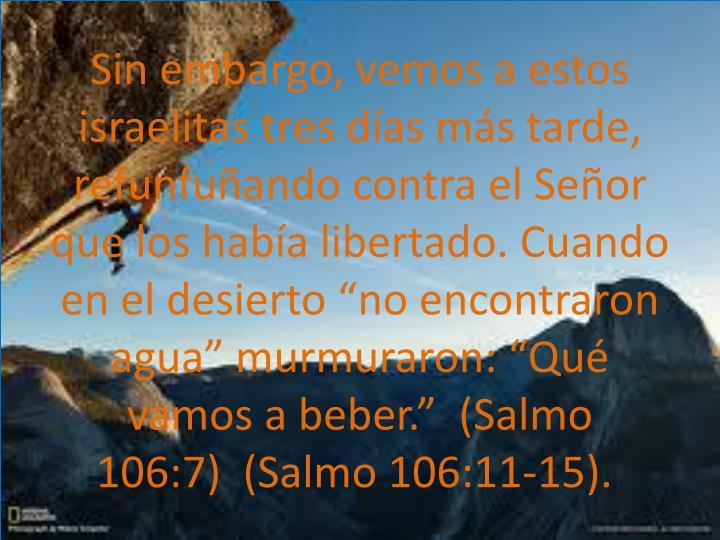 """Sin embargo, vemos a estos israelitas tres días más tarde, refunfuñando contra el Señor que los había libertado. Cuando en el desierto """"no encontraron agua"""" murmuraron: """"Qué vamos a beber"""