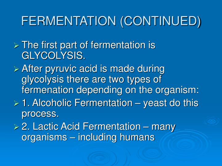 FERMENTATION (CONTINUED)