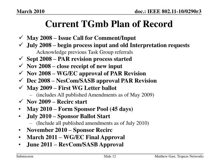 Current TGmb Plan of Record