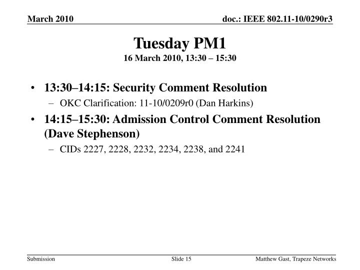 Tuesday PM1