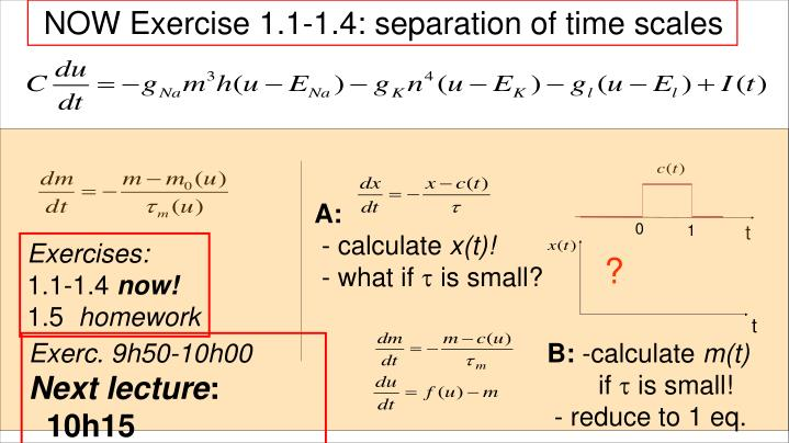 NOW Exercise 1.1-1.4: separation of time scales