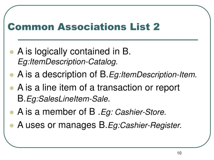 Common Associations List 2