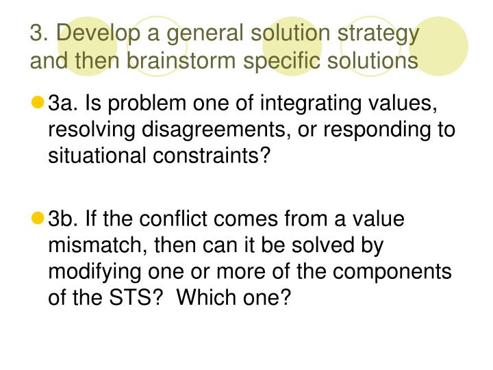 3. Develop a general solution strategy and then brainstorm specific solutions