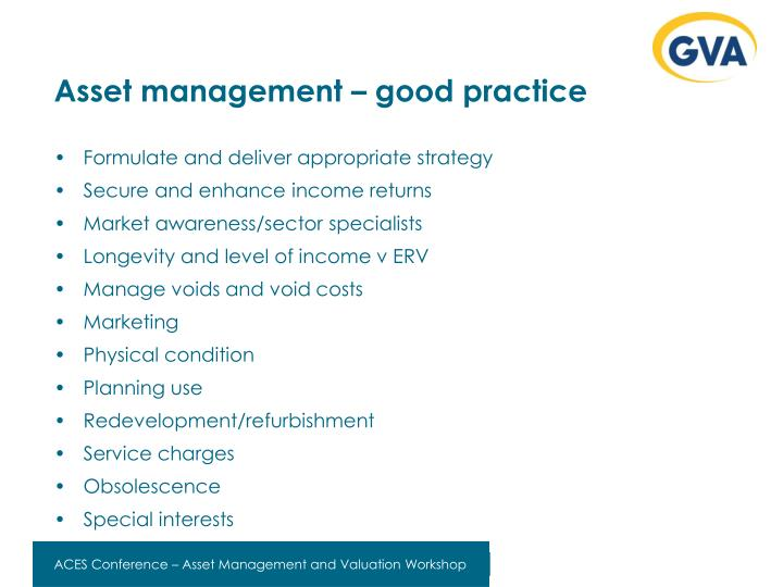 Asset management – good practice