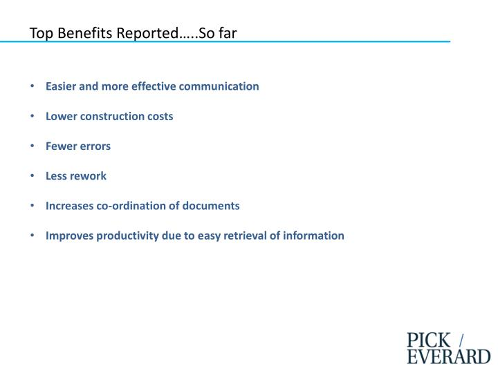 Top Benefits Reported…..So far