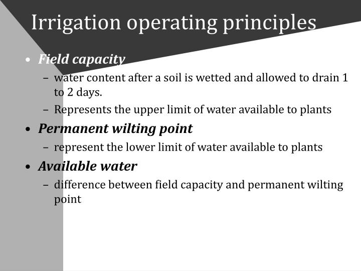 Irrigation operating principles