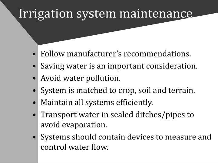 Irrigation system maintenance