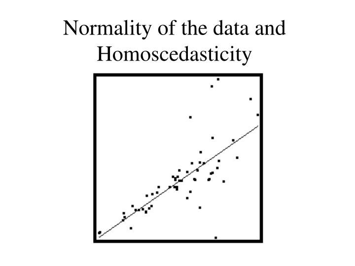 Normality of the data and Homoscedasticity