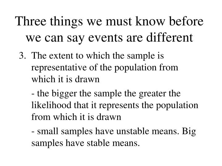 Three things we must know before we can say events are different