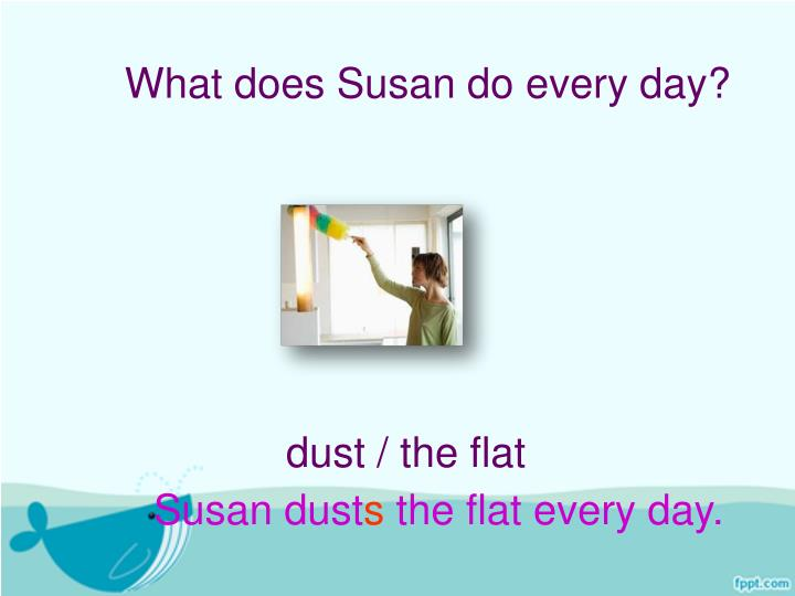 What does Susan do every day?