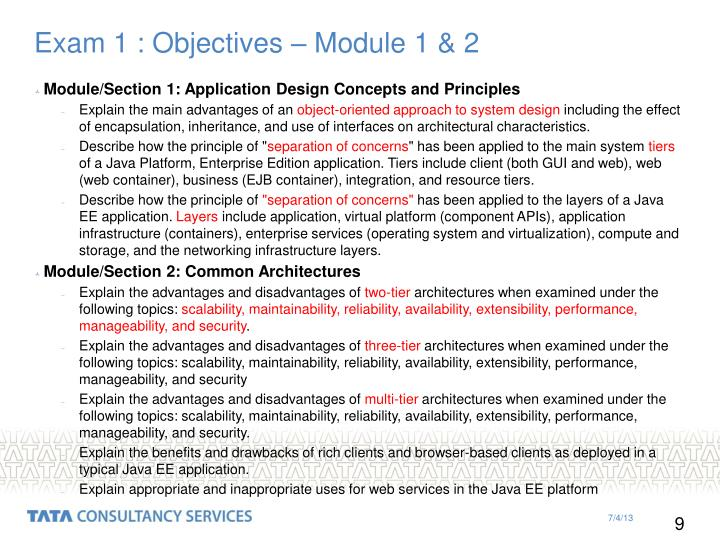Exam 1 : Objectives – Module 1 & 2
