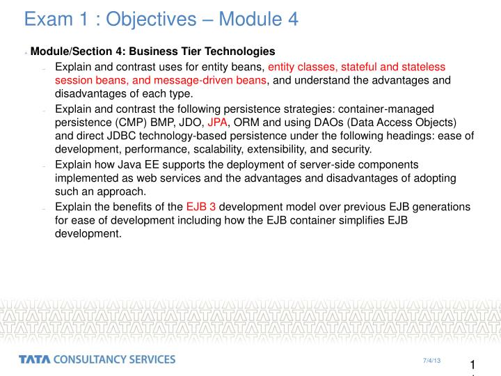 Exam 1 : Objectives – Module 4