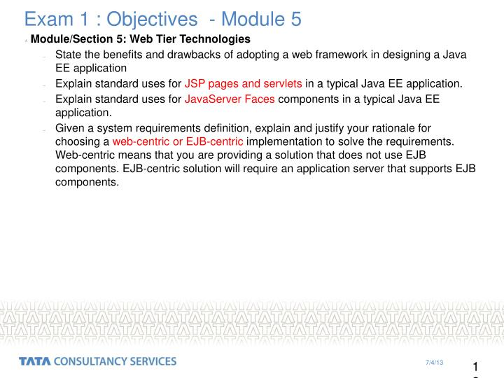 Exam 1 : Objectives  - Module 5