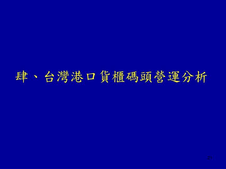肆、台灣港口貨櫃碼頭營運分析