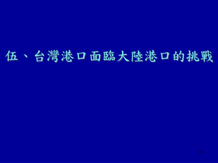 伍、台灣港口面臨大陸港口的挑戰