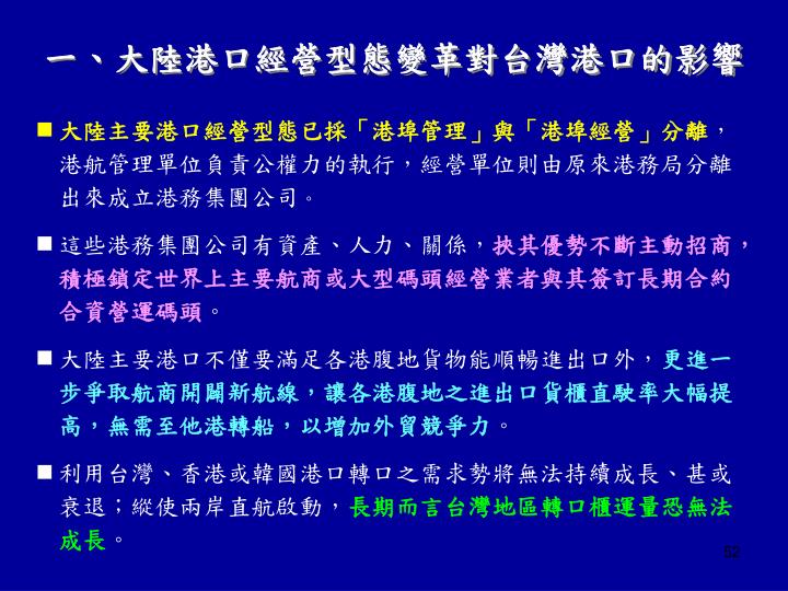 一、大陸港口經營型態變革對台灣港口的影響