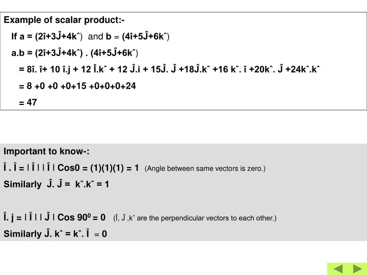 Example of scalar product:-