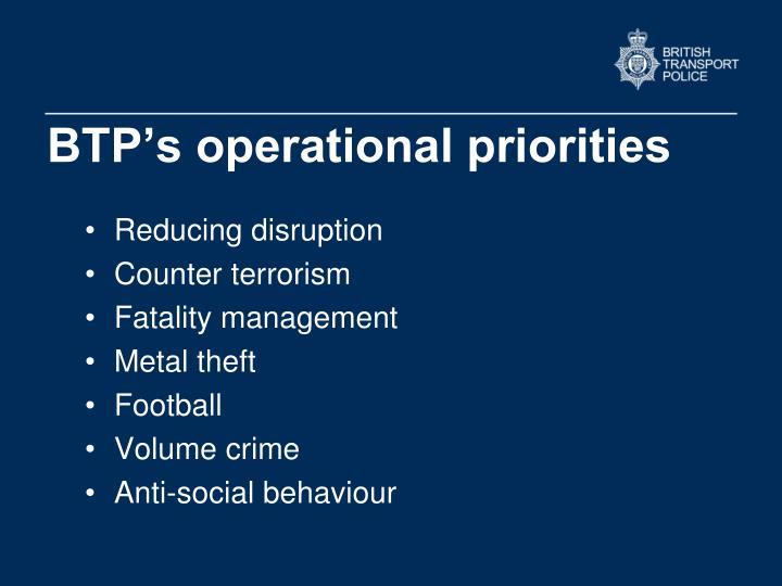 BTP's operational priorities