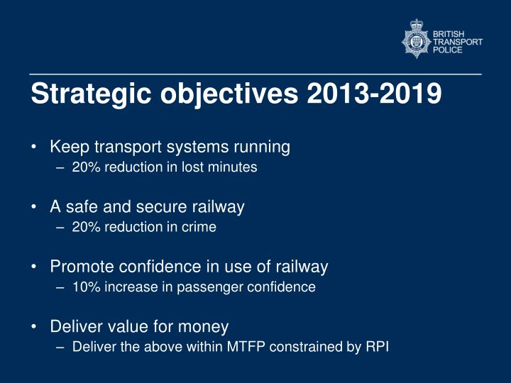 Strategic objectives 2013-2019