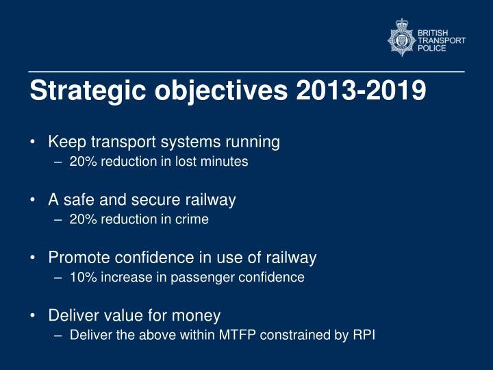 Strategic objectives 2013-2019