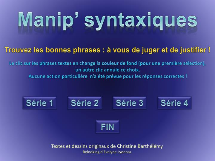 Manip' syntaxiques