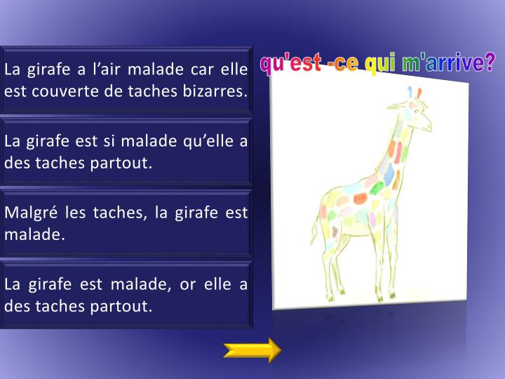 La girafe a l'air malade car elle est couverte de taches bizarres.