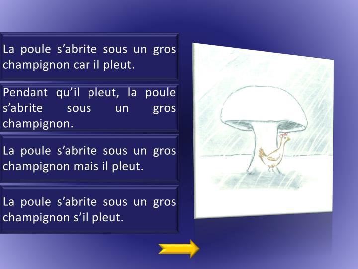 La poule s'abrite sous un gros champignon car il pleut.