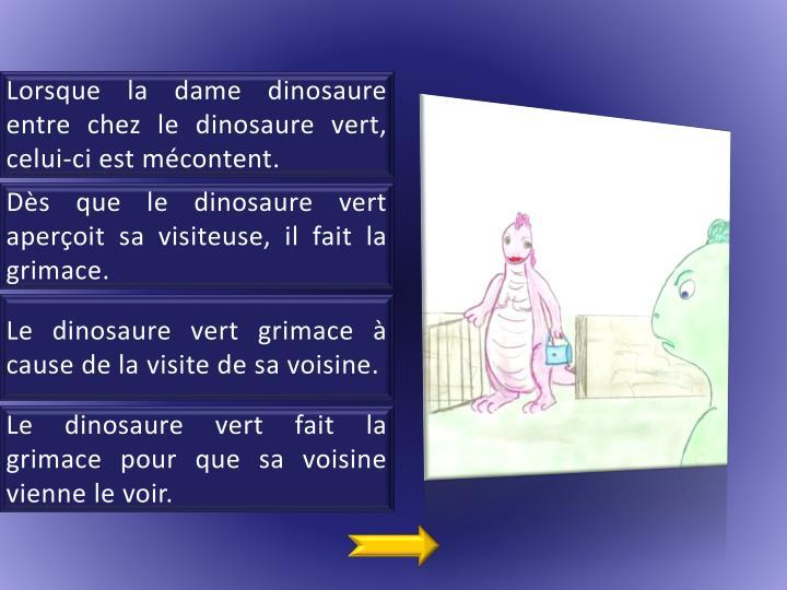 Lorsque la dame dinosaure entre chez le dinosaure vert, celui-ci est mécontent.