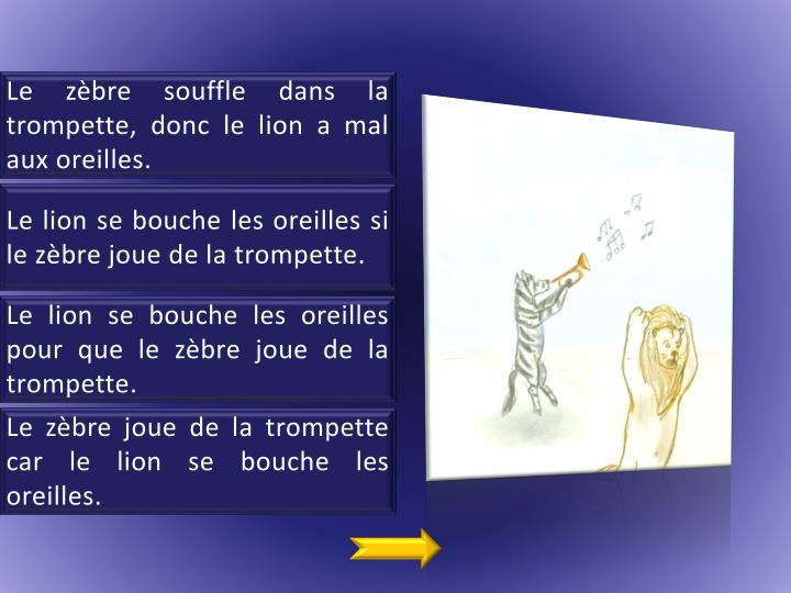 Le zèbre souffle dans la trompette, donc le lion a mal aux oreilles.