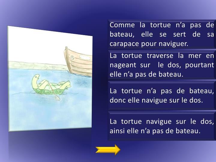 Comme la tortue n'a pas de bateau, elle se sert de sa carapace pour naviguer.