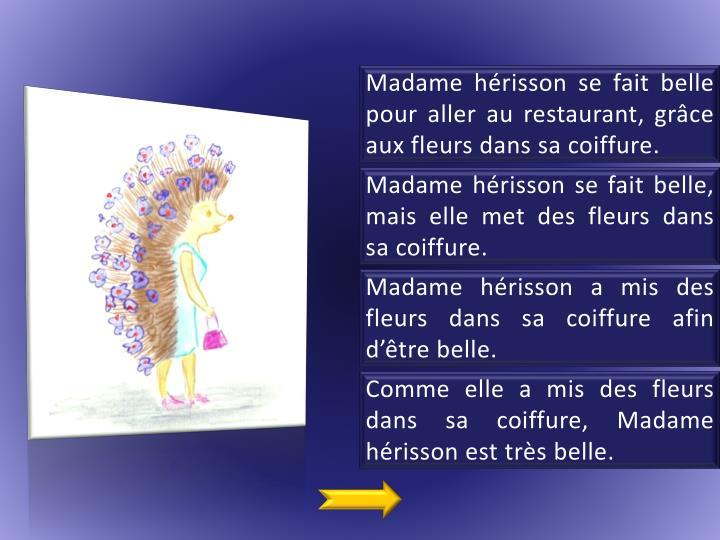 Madame hérisson se fait belle pour aller au restaurant, grâce aux fleurs dans sa coiffure.