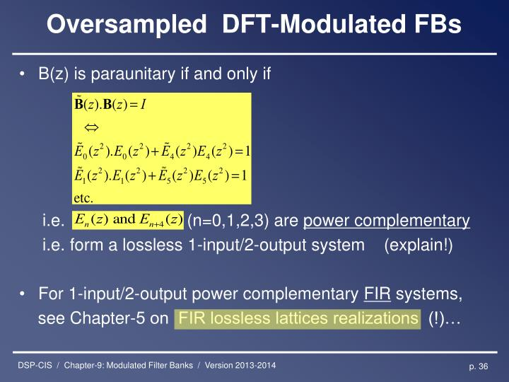 Oversampled  DFT-Modulated FBs