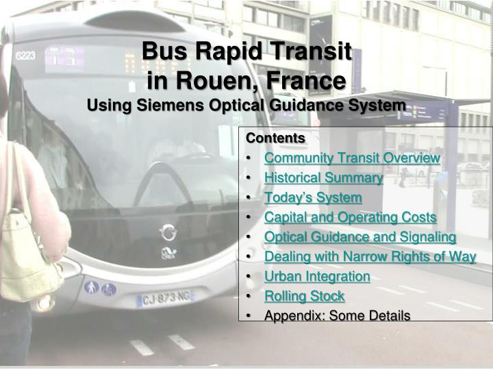 Bus rapid transit in rouen france using siemens optical guidance system
