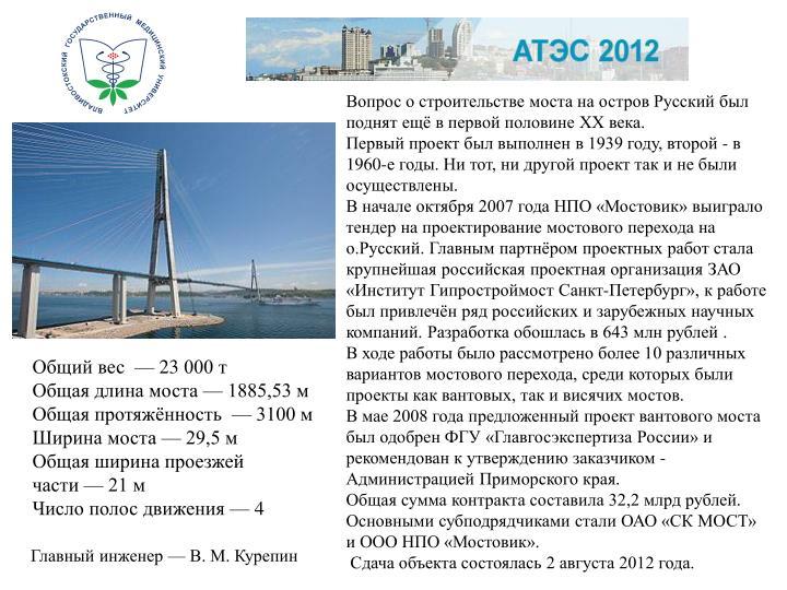 Вопрос о строительстве моста на остров Русский был поднят ещё в первой половине XX века.
