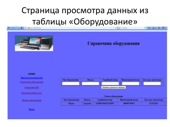 Страница просмотра данных из таблицы «Оборудование»