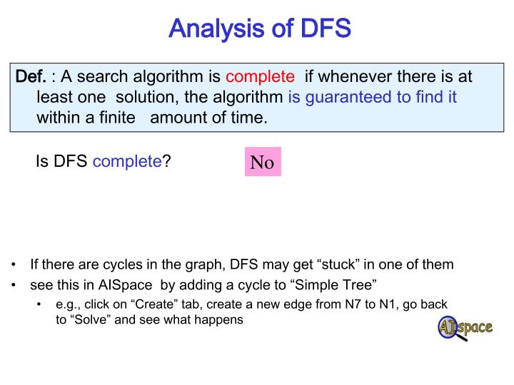 Analysis of DFS