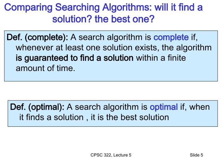Comparing Searching Algorithms: will it find a solution? the best one?