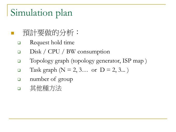 Simulation plan