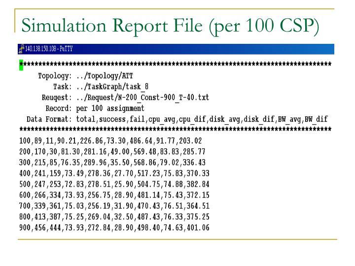 Simulation Report File (per 100 CSP)