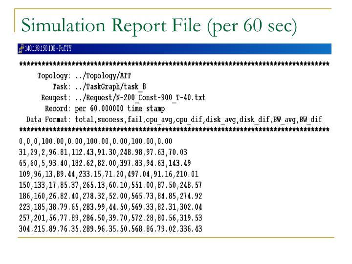 Simulation Report File (per 60 sec)