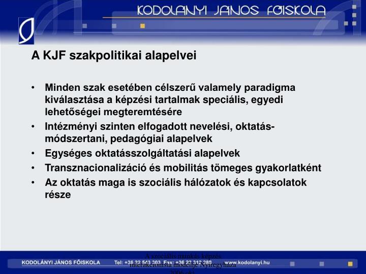 A KJF szakpolitikai alapelvei
