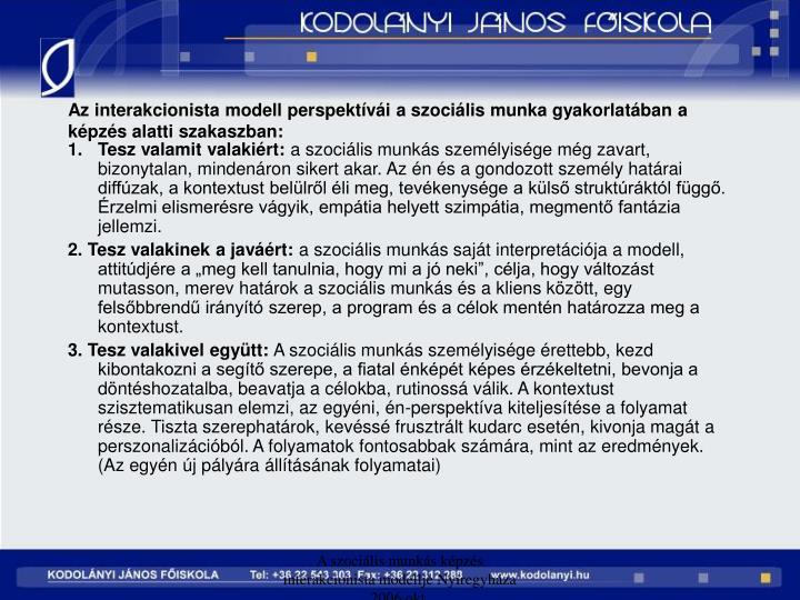 Az interakcionista modell perspektvi a szocilis munka gyakorlatban a kpzs alatti szakaszban: