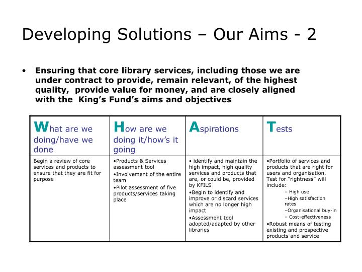 Developing Solutions – Our Aims - 2