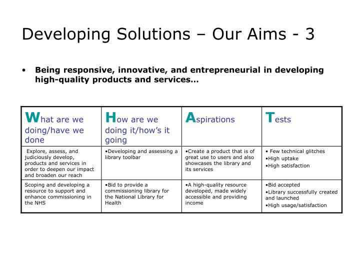 Developing Solutions – Our Aims - 3