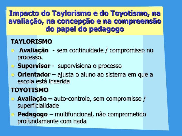 Impacto do Taylorismo e do Toyotismo, na avaliação, na concepção e na compreensão do papel do pedagogo
