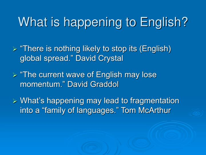 What is happening to English?