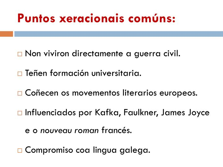 Puntos xeracionais comúns:
