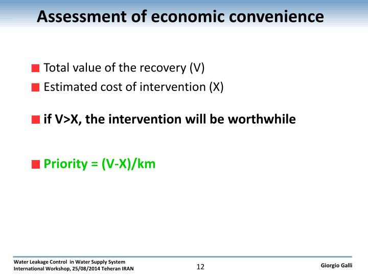 Assessment of economic convenience