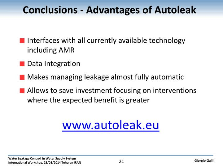 Conclusions - Advantages of Autoleak